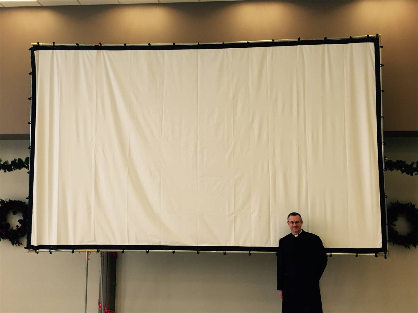 OUR NEW MOVIE SCREEN IS READY FOR WEDNESDAY!!!